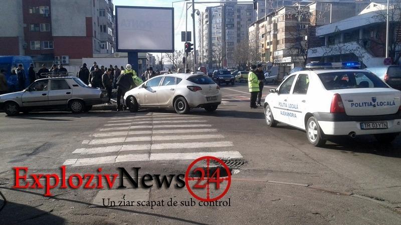 Accident rutier în Alexandria! A ajuns la spital lovit în cap de un indicator rutier