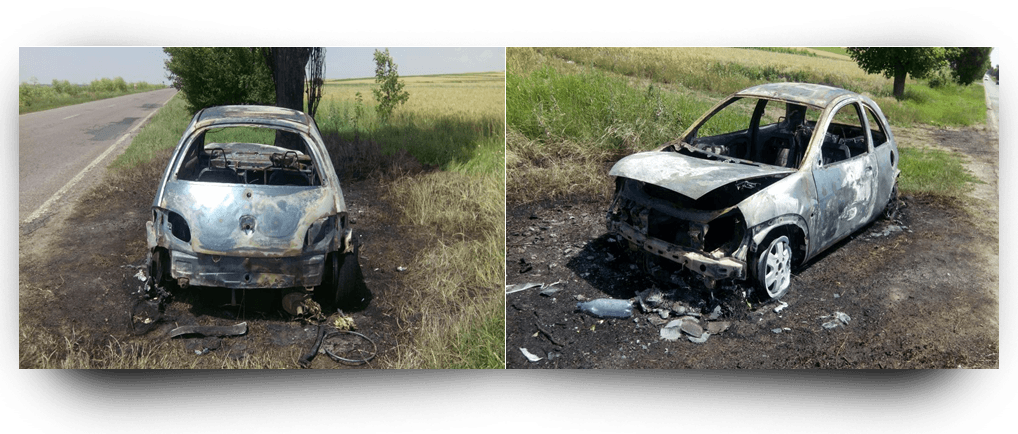 Stiri Teleorman | Maşină arsă între Crângu şi Furculesti.