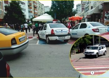 Echipaj de politie locala parcat pe locuri rezervate persoanelor cu handicap, la Alexandria