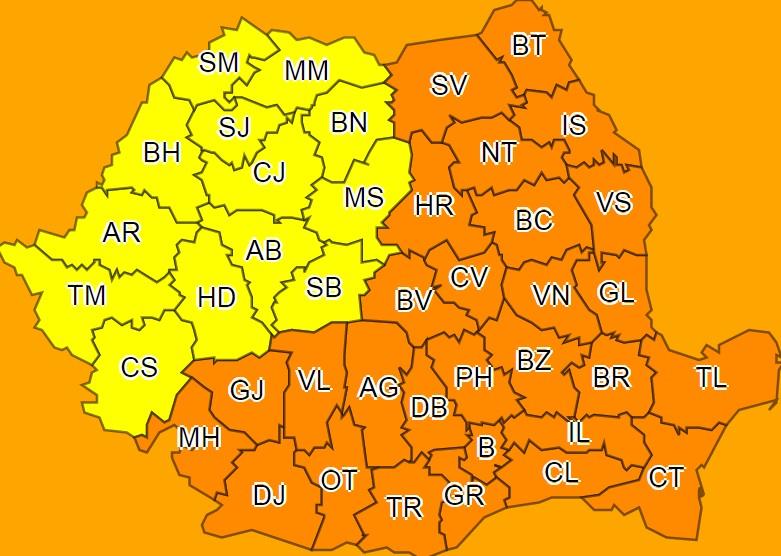 ALERTĂ METEO: Vin zile cu cod galben şi cod portocaliu de ger si ninsori