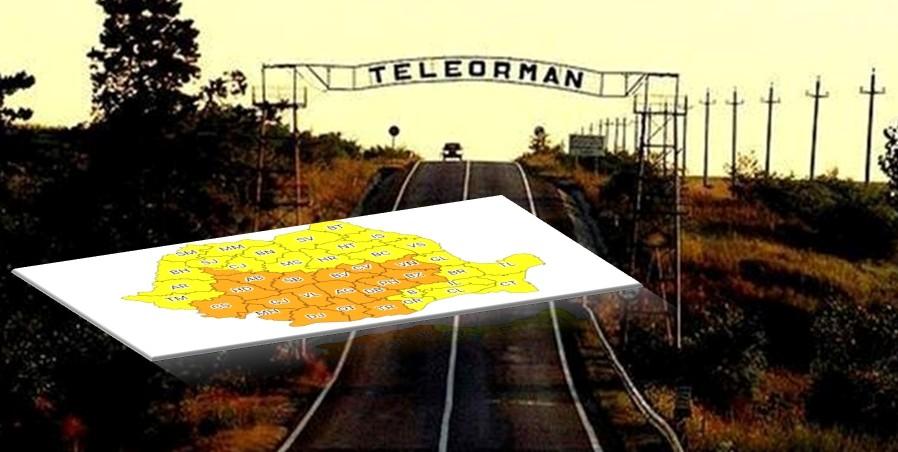 Teleorman, sub Cod portocaliu de ploi abundente, pana marti seara