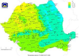 Harta Romaniei - temperaturi